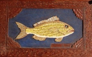Sanchez, Mario. A Key West Red Mouth Yellow Grunt. Carved Oil on Board, 11 one quarter by18 one half inches.