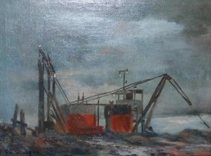 Sawyer, Helen. Sarasota. Little Dredge at Evening. Oil on canvas, 12 by 16 inches.