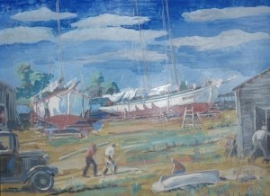 Sawyer, Philip. The Marine Ways, Sunshine Camp, Tarpon Springs. Oil on board, 12 by 16 inches.