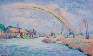 Scheibner, Vera. Rainbow Over Salt Creek, St. Augustine. Oil on canvas, 11 by 18 inches.