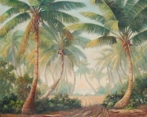 Schick , Paul R. Palm Beach. Palms Along the Sea. Oil on canvas, 24 by 30 inches. Exhibited Society of the Four Arts.