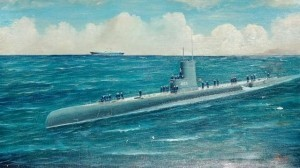 Selby, Joe. Miami. Uss Atule, 1955. Oil on canvas, 14 by 24 inches.