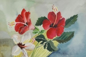 Small, Alice Jean. University of Tampa. Hibiscus. Watercolor, 14 by 21 inches.