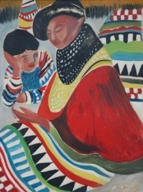 Small, Alice Jean. University of Tampa. Seminole Mother and Child. Oil on board, 18 by 24 inches.