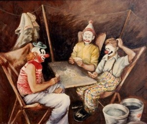 Smith, Alice Revenel Huger. Clowns. Oil on board, 20 by 24 inches.