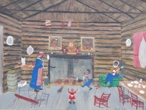 Smith, Frog. Ft. Myers. Everybody Is Happy While Mother Cooks Without Gas, Electricity or Even a Stove. Mixed Media, 14 by 18 inches.