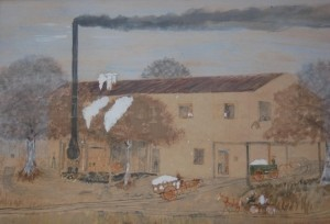 Smith, Frog. Ft. Myers. Mixed media, 14 by 22 inches. Cotton Gin built by Lovett Mores in 1902 five miles west of Branford, Fla. on 27. Moved into Branford in 1905. I saw it running in 1910.