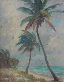 Stearns, Rachel. Oil on board, 16 by 20 inch. Signed front lower left and on back, Windy Morning, Crandon Beach, on Key Biscayne, at Miami.
