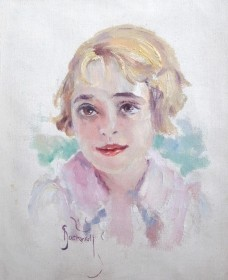 Stockwell, Catherine. Portrait of her daughter. Oil on canvas, 8 by 10 inches.