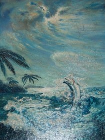 Stoltz, Sam. Orlando. Moonlight Serenade, Oil on board, 30 by 40 inches. In orginal hand carved tarpon frame.
