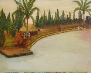 Tennis, Leonard Oreistes. Oil on board, 16 by 20 inches.  In the Edge of the Everglades. Seminole Inidan Village and Aligator Farm. Tigertail River, November 15, 1935.
