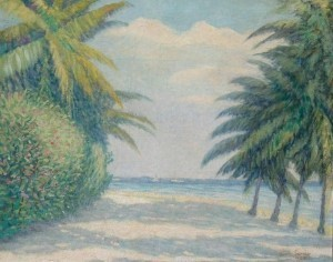 Thurston, Elmer M. Miami Palms, 1922. Oil on canvas, 24 by 30 inches.