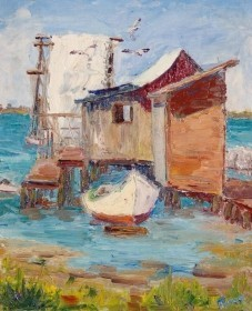 Tracy, Lois Bartlett. Fishnets and Sails. Exhibited Sarasota Art Association, 1943. Oil on board, 10 by 12 inches.