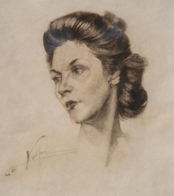 Volpe, Nicholas. Jacksonville. Florence Seymour, 1945. Charcoal, 15 one half inches by 17 one half inches. Volpe the first professor of art at Jacksonville University. Seymour, President, FFA.