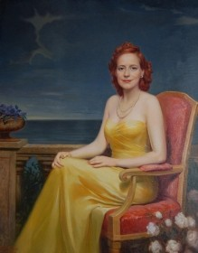 Von Hausen, F. C. The Lady With Red Hair. OIl on canvas, 40 by 50 inches.