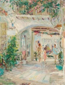 Vosseller, Frances. Via Mizner. Exhibited Society of the Four Arts, 1949. Oil on board , 14 by 18 inches.