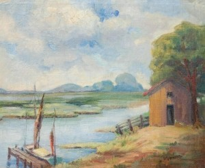Weatherby, Evelyn  Mae. North of Jacksonville, Oil on canvas, 20 by 24 inches.