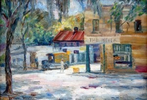 Wells, Lillian. DeLand. The Mecca. Two sided painting. Oil on board, 14 by 20 inches.