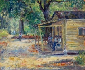 Wells, Lillian. The Shop, an original sketch on Dover Street, negro section, Deland, Fla. Painted by Lilian Wells. Oil on board, 11 by 13 one half inches.