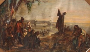White, Edwin. Landing of the Hughenots In Florida. Exhibited Boston Art Club, 1864. Oil on copper, 7 by 12 inches.