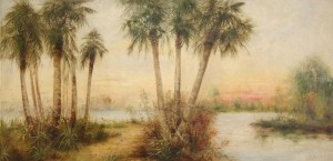 Wilcox, J. Ralph. Attributed to. Daytona Beach.  Oil on board 24 by 48 inches.