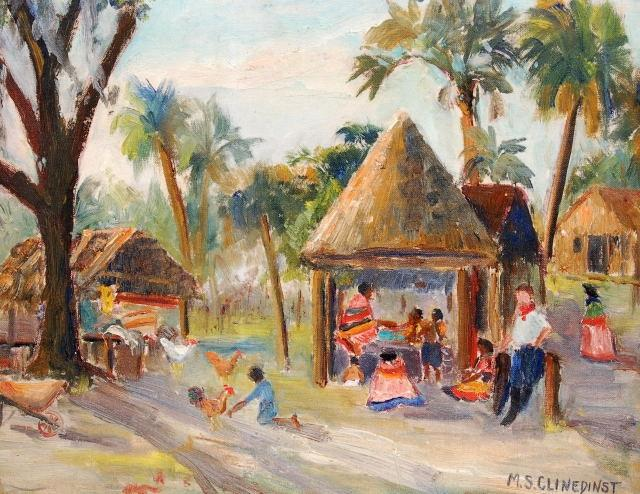 May Spear Clinedinst, St. Petersburg, Seminole Indian Village, circa 1950. Oil on board, 12 by 13 inches.