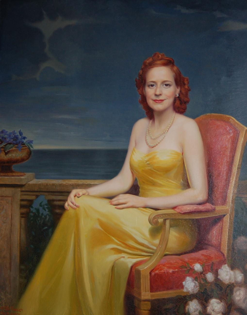 F. C. Von Hausen, The Lady With Red Hair, oil on canvas, 40 by 50 inches.
